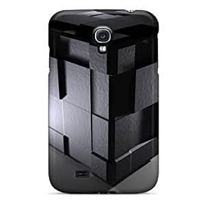 For CaterolineWramight Galaxy Protective Cases, High Quality For Galaxy S4 Cube Black 3d Skin Cases Covers