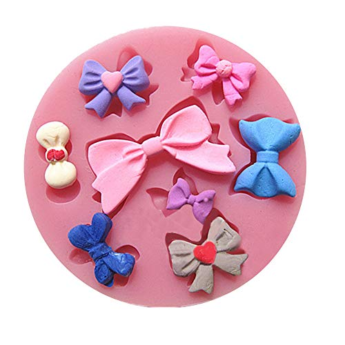 Efivs Arts 8 Mini Bows Silicone Mould Fondant Sugar Bow Craft Molds for Valentine's Day gifts,DIY Cake Decorating 3.5