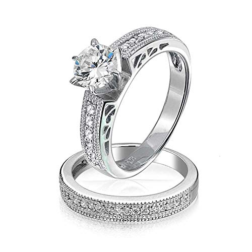 Round Solitaire CZ Pave Band Antique Style Anniversary Wedding Ring Set 925 (Solitaire Wedding Pave Ring)