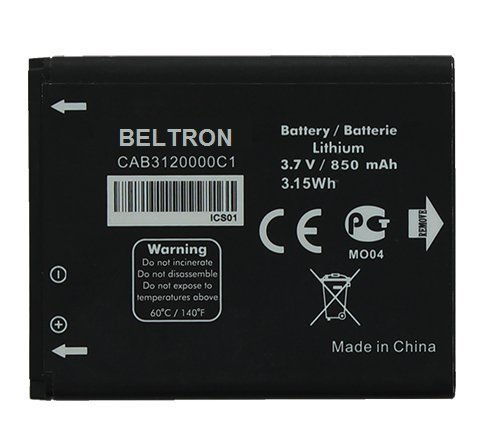 New 850 mAh CAB3120000C1 BELTRON Replacement Battery for Alcatel 510A (AT&T), 768 Flip (MetroPCS/T-Mobile), OT-800A One Touch, OT-807, OT-880A One Touch Xtra, OT-880A Avengeance by BELTRON