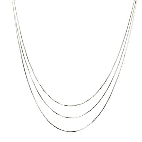 Three Strand Necklace - Sterling Silver Multi-Strand Box Chain Necklace Italy Adjustable 16+2
