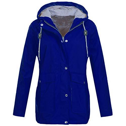 clearance sale!!ZEFOTIM Solid Rain Jacket Outdoor Plus Jackets Waterproof Hooded Raincoat Windproof(Small,B-Blue)