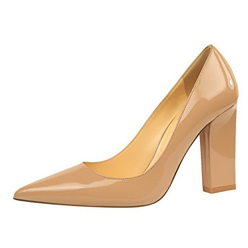 Odomolor AmagooTer Women's Blend Materials High-Heels Pointed-Toe Pull-On Pumps-Shoes Nude