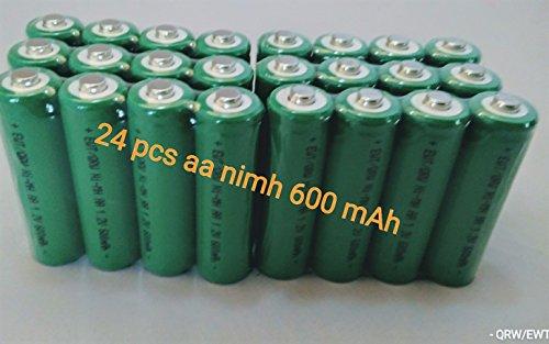 BULK PACK - 24 PCS Button Top AA NiMh 600 mAh 1.2 V Rechargeable Batteries for Solar, etc