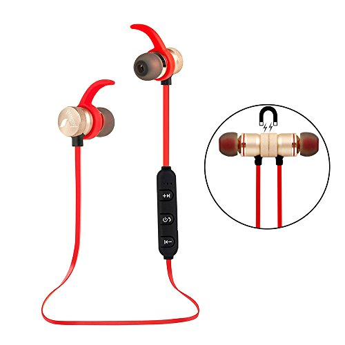 UBYMI BT31 Bluetooth Headphones, Wireless Stereo Bluetooth Headset With Magnet Attraction, Sweatproof Sports Earphones with Microphone for iPhone and Android Smartphones (Gold)