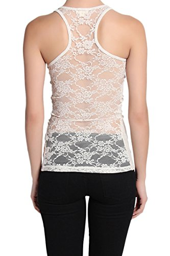 TheMogan Women's Floral Lace Sheer Racerback Ribbed Tank Top Oatmeal S