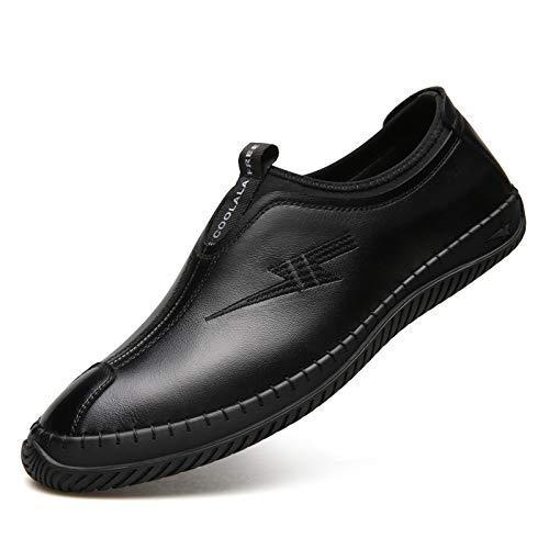 ZHRUI Dimensione Men EU morbido Marrone 42 Mocassino Colore Flat Genuine Leather on Nero Lce Slip Shoes for up antiscivolo rqFZwYr