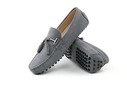 Minitoo La nueva conducción de ante borla de Hombres Loafers Penny zapatos de barco gris claro