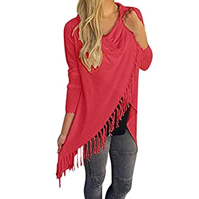 Womens Tops, Women Long Sleeve Tassel Hem Crew Neck Knited Cardigan Blouse Tops Shirt