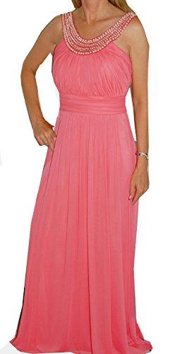 verziert A mit Halsausschnitt aus AF6059D coralle AF6059D Perlen Chiffon Modell Linie Abendkleid xnYZwUq1q