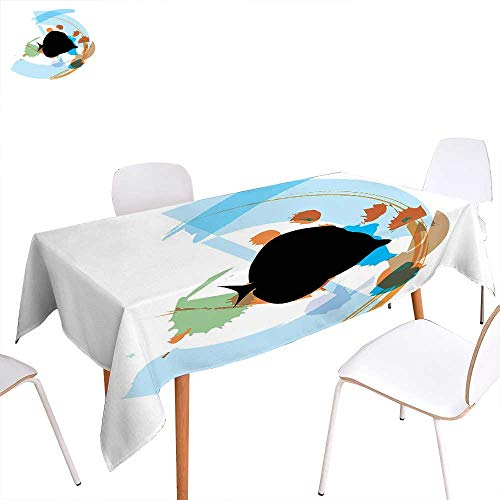 familytaste Fish Printed Tablecloth Silhouette of a Discus Cichlid in a Partly Illustrated Bowl Cartoon in Pastel Colors Rectangle Tablecloth 70