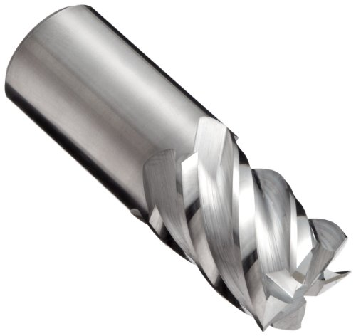 YG-1 E5066 Carbide Square Nose End Mill, Uncoated (Bright) Finish, Non-Center Cutting, 45 Deg Helix, 5 Flutes, 2
