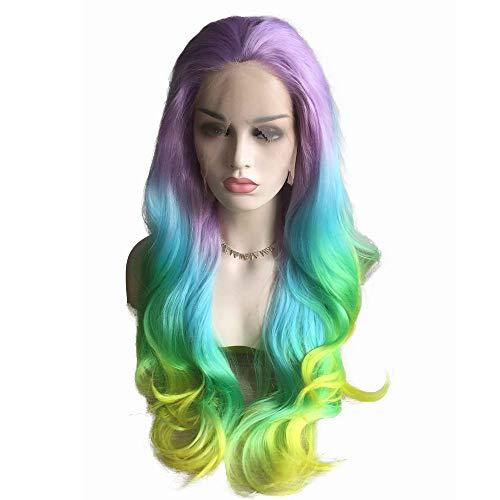 Rainbow Wig Long Body Wave Wig Colorful Mermaid
