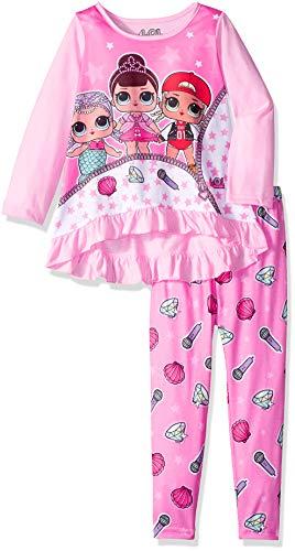 AME Sleepwear Girls' Little L.O.L. Surprise 2-Piece Pajama Set, Pink Trio, 4