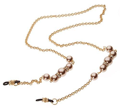 L. Erickson Cadabra Eyeglass Chain - Bronze Pearl/Crystal/Gold by L. Erickson