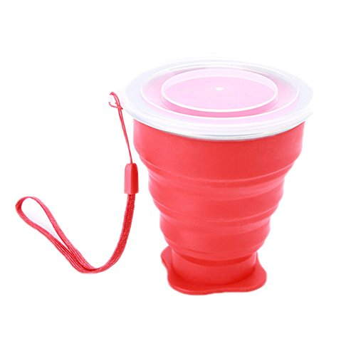Ospard Silicone Collapsible Travel Cup for Outdoor Camping and Hiking WB17-024 Red