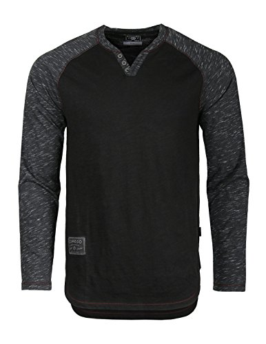 ZIMEGO Long Sleeve Raglan V Neck Henley Round Bottom Semi Longline T Shirt Black on Black XX Large
