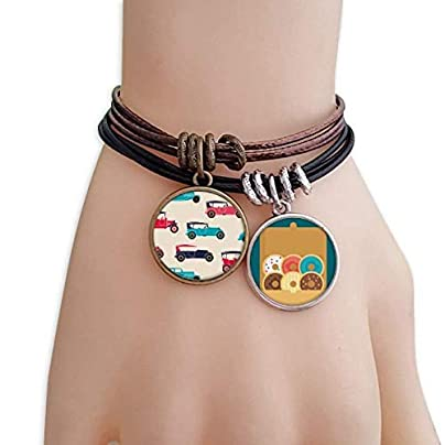 YMNW Colorful Classic Cars Cartoon Pattern Bracelet Rope Doughnut Wristband Estimated Price -