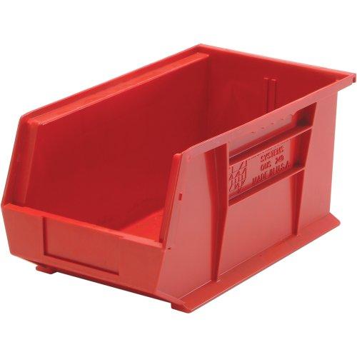 Edsal PB8504R High Density Stackable Plastic Bin, 8'' Width x 7'' Height x 14'' Depth, Red (Pack of 12) by EDSAL