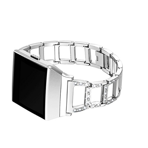 bayite For Fitbit Ionic, Replacement Metal Bracelet Adjustable Fitbit Ionic Bands Silver with Rhinestone by bayite