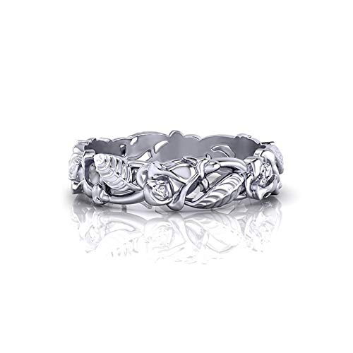 Charming Blossoms (HOTSKULL 925 Sterling Silver Floral Ring Vine Rose Blossom Charming Diamond Jewelry Engagement Proposal Wedding Band Rings)
