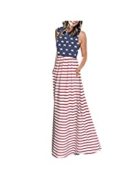 HHmei Women American Flag Day Dress, Stripe Long Sleeve Empire Pleated Long Maxi