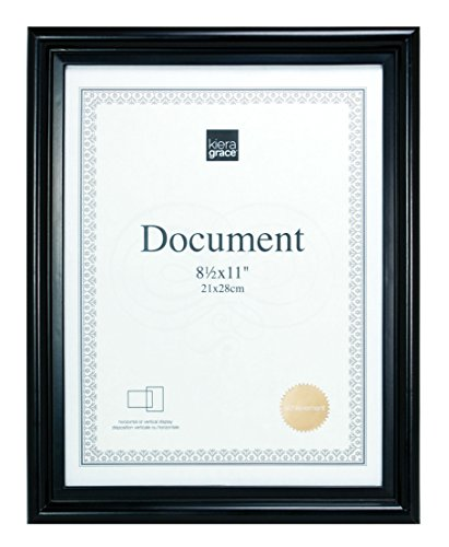 Kiera Grace Embassy Document Frame, 8.5 by 11 Inch, Black