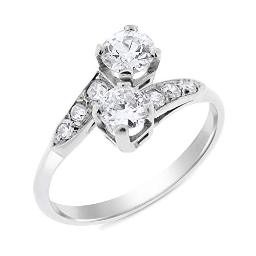 (1.03 Ct. Vintage Estate Two-Stone Diamond Ring in 14k White Gold)