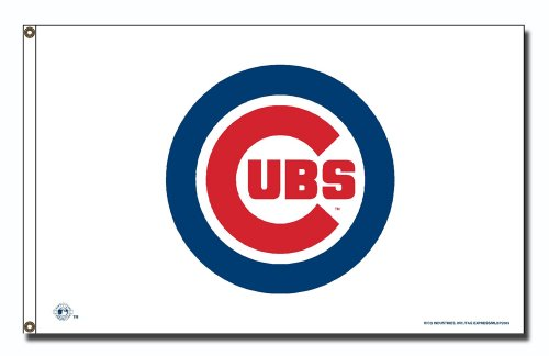 MLB Chicago Cubs Logo (On White) 3-Foot by 5-Foot Banner Flag