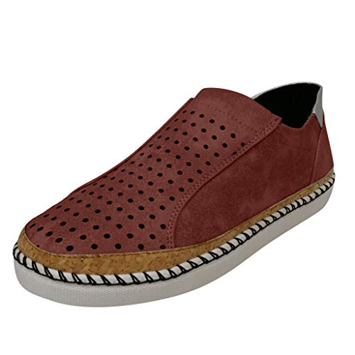 Valor Boot Knife - Slip On Sneakers for Women,ONLYTOP Women's falt Loafers Sneakers Breathable Hollow-Out Round Toe Slip On Shoe Brown