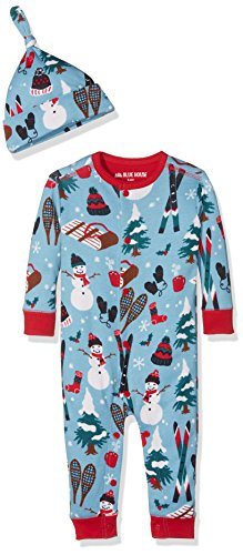 Hatley Baby Coverall and Bonnet, Blue Vintage Holiday (3-6 Months)