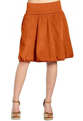 CASPAR RO004 Jupe hiver en velours pour femme - jupe boule avec ceinture stretch - plusieurs coloris Rouille