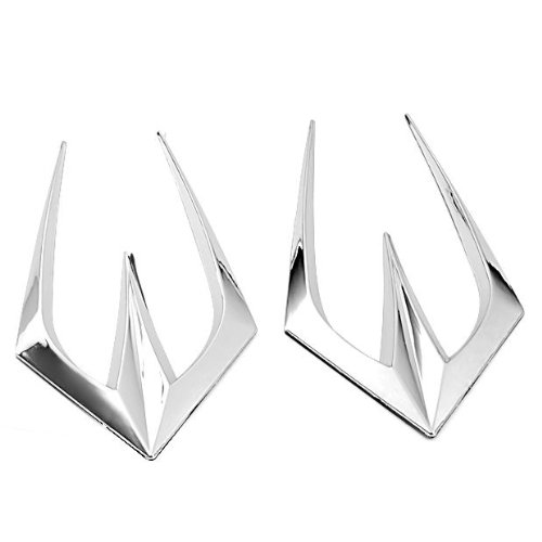 Silver Mirrorlike Chrome Hot Car Air Flow Intake Side Vent Stick on Bumper Duct Fender Grille Louver Brand NEW Stick with Adhesive Tape Decoration Trims for Universal Car Honda BMW Suzuki Toyota Audi Hyudai Benz Truck Dodge