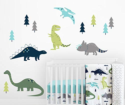Sweet Jojo Designs Navy Blue, Green and Grey Dino Large Peel and Stick Wall Mural Decal Stickers Art Nursery Decor for Mod Dinosaur Collection - Set of 2 ()