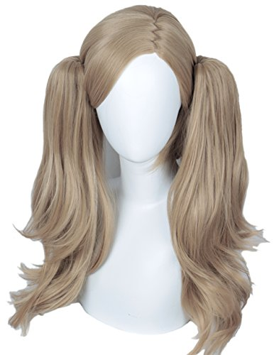 (Linfairy Long Cosplay Wig with two Ponytails Halloween Costume Wig for Women Grey)
