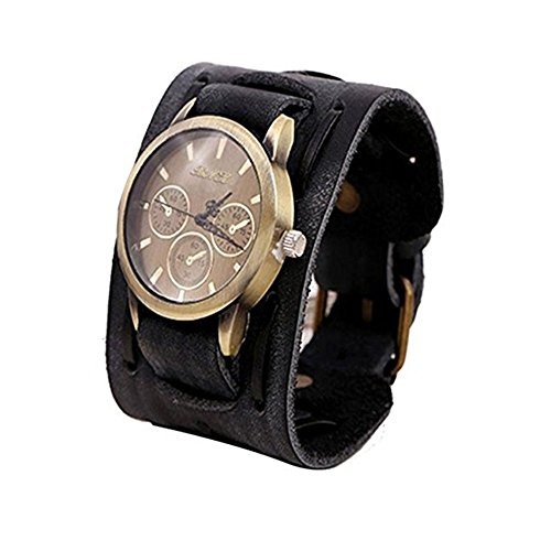 Clearance! Charberry Mens Retro Leather Punk Watch Rock Brown Big Wide Leather Bracelet Cuff Watch (Black)