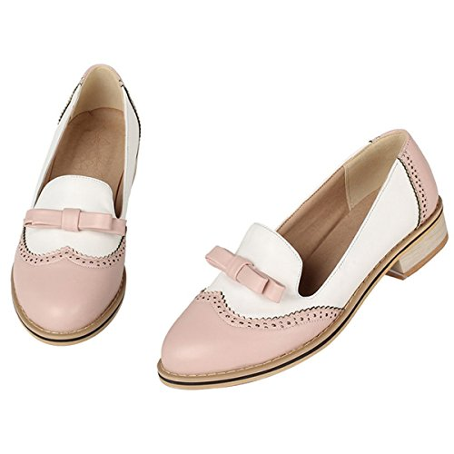 Women's Sweet Color Heel Summer Vintage Brogue Low Oxfords Shoes Spring Candy Fashion Pink Bowknot nYqwI7x00