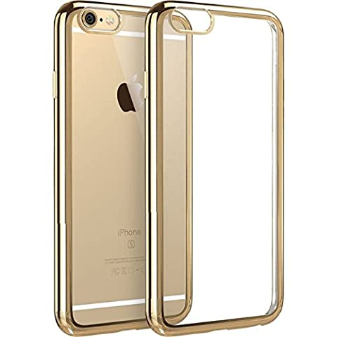 iPhone 5s Case, Asstar Ultra Slim Metal Plating Frame Protective case with Soft TPU Clear Anti-scratch and Anti-shock Back Cover case for Apple iPhone (Gold Disney Iphone 5s Case)