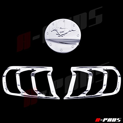 A-PADS Chrome Covers Combo Set for Ford MUSTANG 2015 2016 - Chrome Gas Door WITH Logo + 2 Tail Lights Bezel