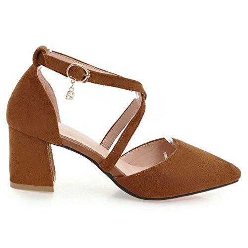 TAOFFEN Women Block Heel Court Shoes Straps Yellow zTvu8lQ