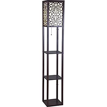 """SH Lighting 6958BR-A 63""""H Wooden Shelf Floor Lamp with Floral Shade Panels, Brown"""