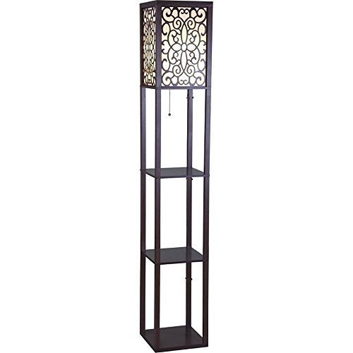 SH Lighting 812045022745 6958BR-A 63″ H Wooden Shelf Floor Lamp with Floral Shade Panels, Brown, Medium Review