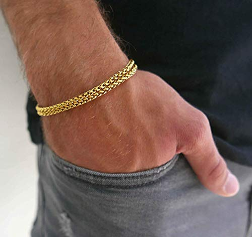 """Handmade Cuff Chain Bracelet For Men Made Of Gold Plated Over Stainless Steel By Galis Jewelry - Gold Bracelet For Men - Cuff bracelet For men - Jewelry For Men - FITS 7""""-8"""" WRIST SIZE"""