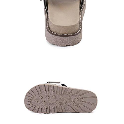 LIXIONG Portátil Sandalias del verano Zapatos planos del estudiante femenino Playa antideslizante gruesa de la parte inferior Una palabra pantuflas -Zapatos de moda ( Color : B , Tamaño : EU39/UK6/CN3 B
