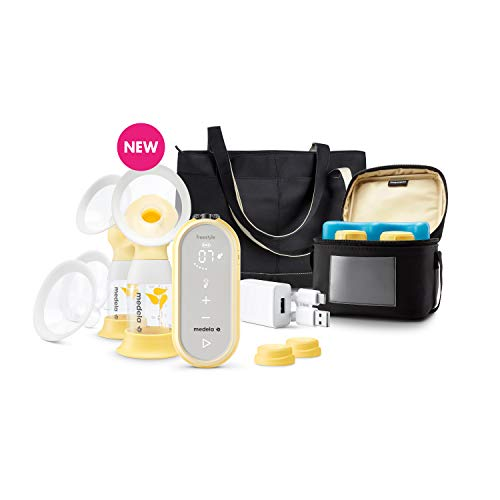 Medela Freestyle Flex Breast Pump, Closed System Quiet Portable Double Electric Breastpump, Mobile Connected Smart Pump with Touch Screen LED Display and USB Chargeable Battery
