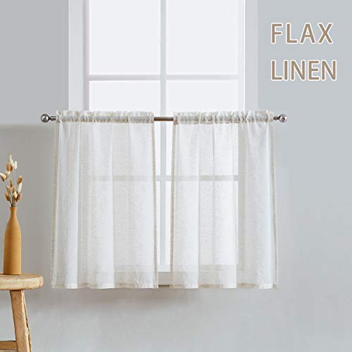 "Fmfunctex Sheer Tier Curtains for Kitchen 36"" Flax Linen Blend Tiers Natural Short Half Window Curtain Set for Bathroom Café Curtains 28"" w x 2 Panels"