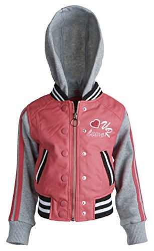 Urban Republic Girls PU Leather Jersey Varsity Spring Jacket with Removable Hood - Hot Pink (Size 4T)
