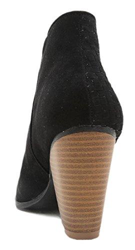 Les Femmes Découpent Bootie Lace Up Slip Sur Talon Haut Plate-forme Cheville Bottine Noir-zipstrap