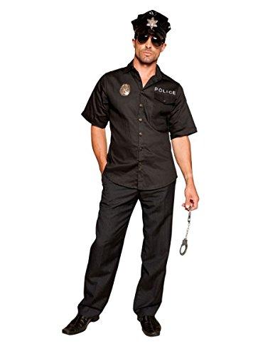 [UHC Men's Hot Patrol Policeman Uniform Adult Fancy Dress Halloween Costume, XL] (Hot Policeman Costume)