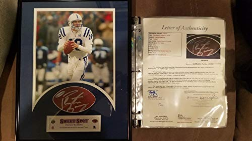Peyton Manning Autographed Signed Framed Wilson Football Panel Colts JSA Coa Full Letter ()